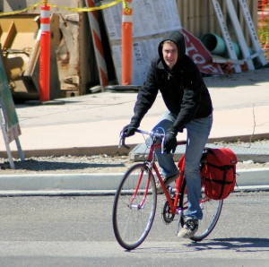 Cyclist with panniers