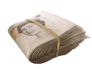 Roll of ten pound notes