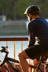 Cyclist by the thames
